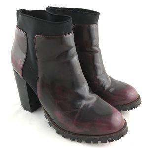 Ankle booties chelsea boots red black block heel